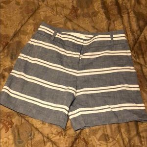 Blue and white linen shorts